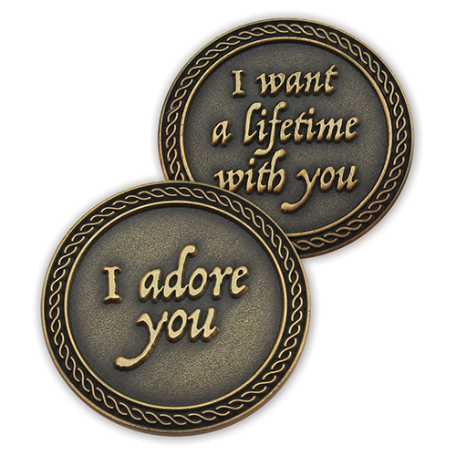 Front and back of  I Adore You Romantic Love Expression Antique Gold Plated Coin