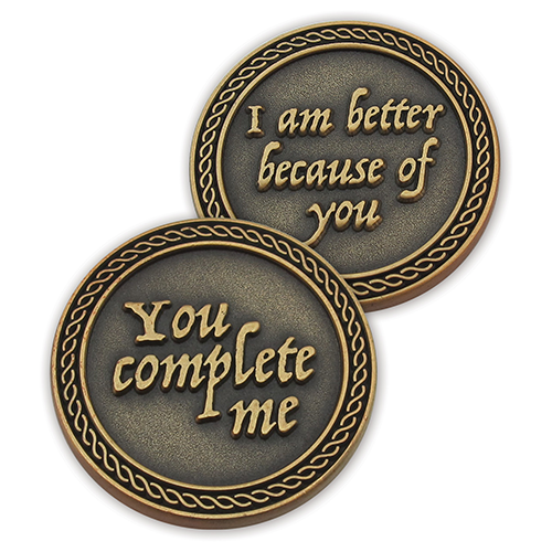 Front and back of You Complete Me Romantic Love Expression Antique Gold Plated Coin