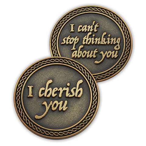 Romantic Love Expression Antique Gold Plated Coins for Date Night, I Cherish You, Valentine Coins for Significant Other, For Men and Women, From Him or Her