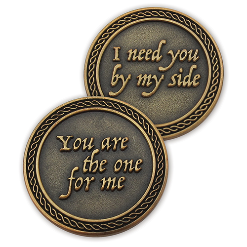 Front and back of You Are The One For Me Romantic Love Expression Antique Gold Plated Coins