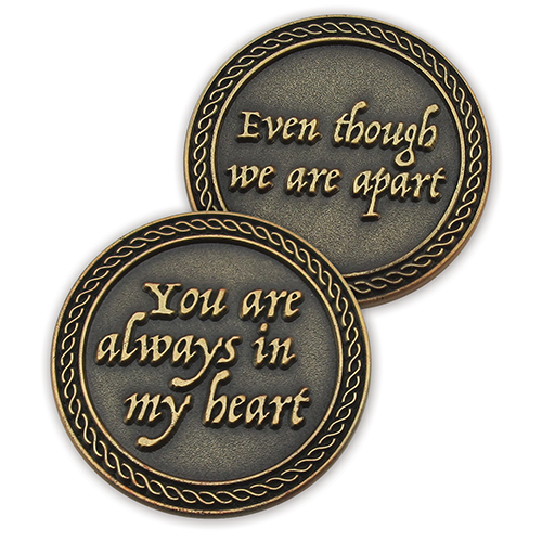Front and back of You Are Always In My Heart Romantic Love Expression Antique Gold Plated Coins