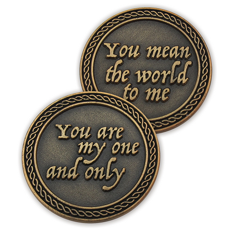 "Front and back of ""You Are My One and Only"" Romantic Love Expression Antique Gold Plated Coins"