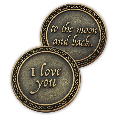 "Front and back of ""I Love You to the Moon and Back"" Romantic Love Expression Antique Gold Plated Coins"