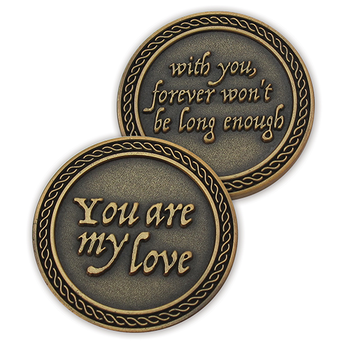 Romantic Love Expression Antique Gold Plated Coins for Date Night, Forever Won't Be Long Enough, Valentine Coins for Significant Other, For Men and Women, From Him or Her