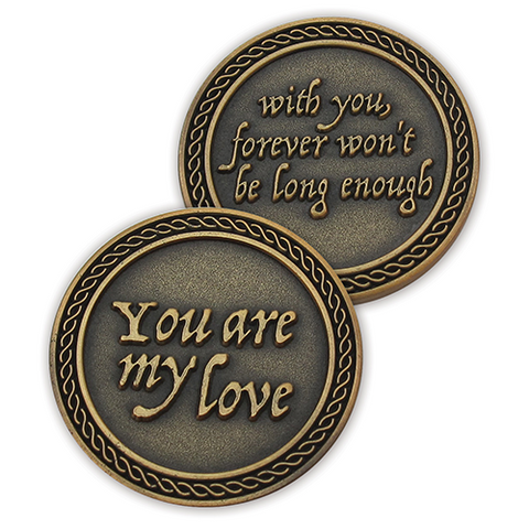 "Front and back of ""Forever Won't Be Long Enough"" Romantic Love Expression Antique Gold Plated Coins"