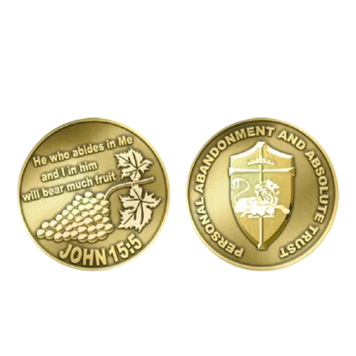 Front and back of the journey coin