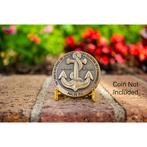 Coin stand with anchored in Christ example coin with floral background