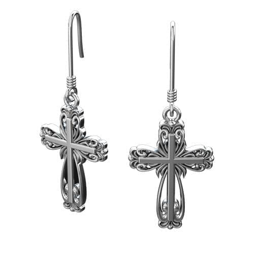 Logos Jewelry - Elegant Cross, Sterling Silver Earrings - Logos Trading Post, Christian Gift