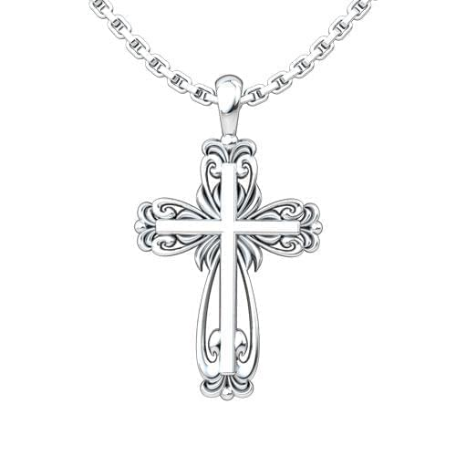 Elegant Cross Sterling Silver Necklace on an 18 inch chain