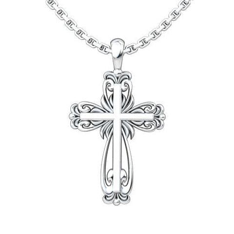 Logos Jewelry - Elegant Cross, Sterling Silver Necklace - Logos Trading Post, Christian Gift