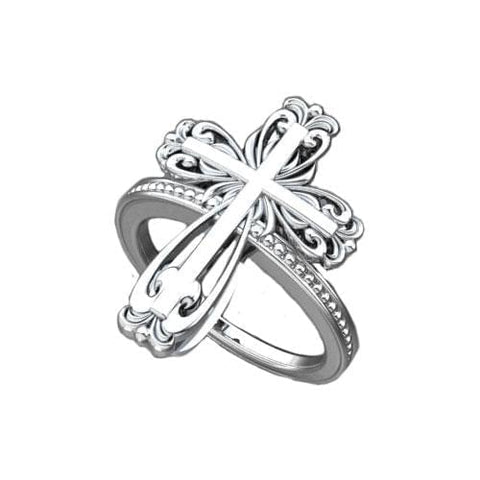 Logos Jewelry - Elegant Cross, Sterling Silver Ring - Logos Trading Post, Christian Gift