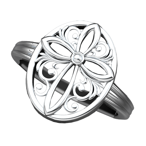 Logos Jewelry - Encircled Cross, Sterling Silver Ring