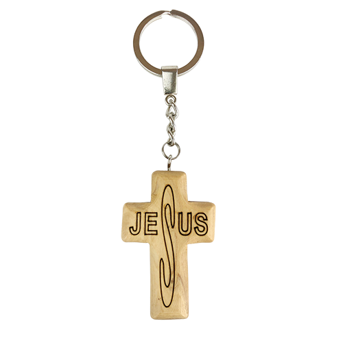 Jesus Cross Olive Wood Keychain, Catholic & Christian Religious Gift for Men & Women
