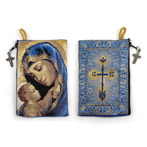 catholic rosary pouch view of front and back
