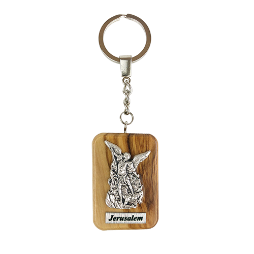 Saint Michael Olive Wood Keychain, Catholic & Christian Religious Gift for Men & Women