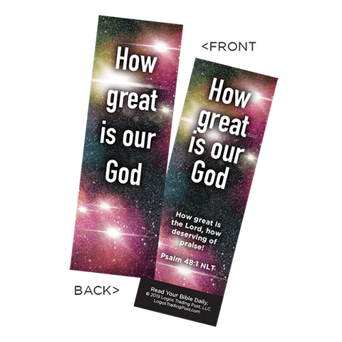Children's Christian Bookmark, How Great is our God, Psalm 48:1 - Pack of 25