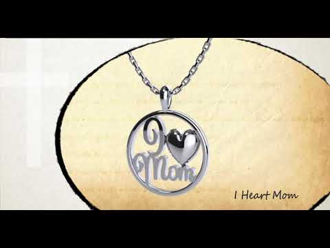 360 degree view of I Heart Mom Sterling Silver Pendant