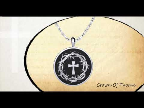 360 view of Crown of Thorns and Cross Sterling Silver Necklace