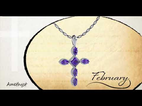 "February Amethyst Antique Birthstone Cross Pendant - With 18"" Sterling Silver Chain 360 view video"