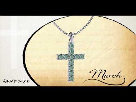 "March Aquamarine Antique Birthstone Cross Sterling Silver Pendant - With 18"" Sterling Silver Chain video with a 360 degree view of the product"