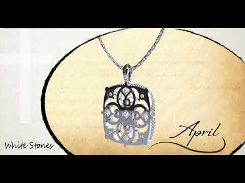 "April Cubic Zirconia Antique Birthstone Cross Pendant - with 18"" Sterling Silver Chain 360 degree video view"