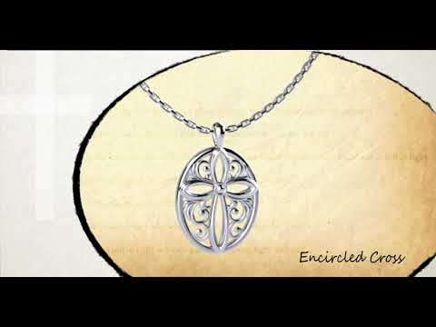 Logos Jewelry - Encircled Cross, Sterling Silver Necklace