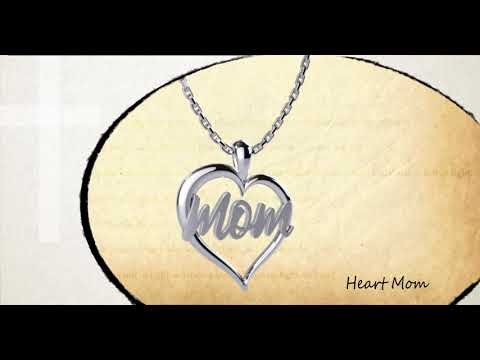 360 degree view of the Mom Heart Sterling Silver Pendant