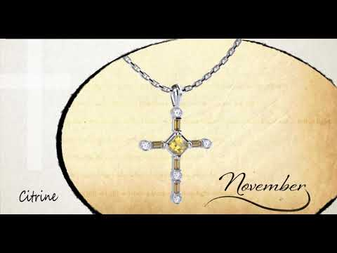 "November Citrine Antique Birthstone Cross Pendant - With 18"" Sterling Silver Chain video with 360 degree turn of the product"