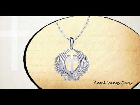 360 degree view of Angel Wings Cross Sterling Silver Pendant with 18 inch chain
