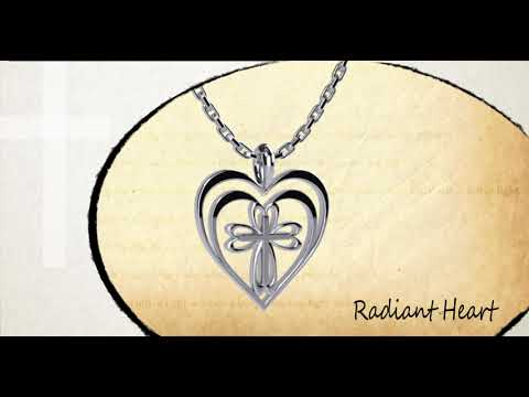 360 degree view of Radiant Heart with Cross Sterling Silver Necklace