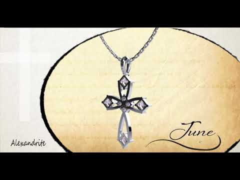 "June Alexandrite Antique Birthstone Cross Pendant - With 18"" Sterling Silver Chain 360 degree video view"