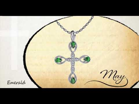 "Antique Emerald May Birthstone Cross Pendant - With 18"" Sterling Silver Chain"