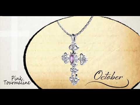 "Antique Pink Tourmaline October Birthstone Cross Pendant - With 18"" Sterling Silver Chain"