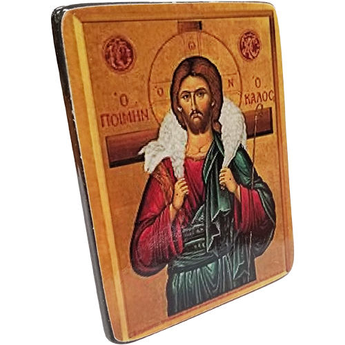 Holy Land Icon, Christ the Good Shepherd, Hand Carved Serpentine Stone - Logos Trading Post, Christian Gift