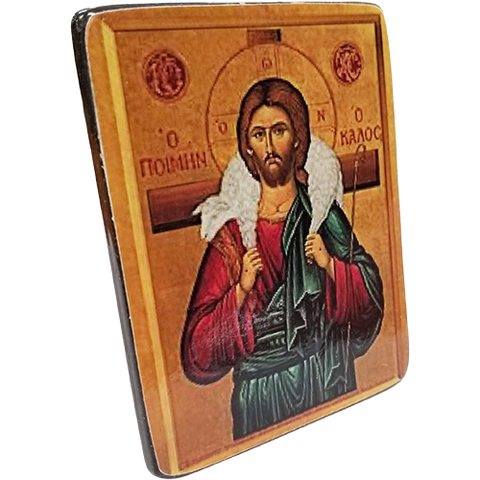 Holy Land Icon, Christ the Good Shepherd, Hand Carved Serpentine Stone