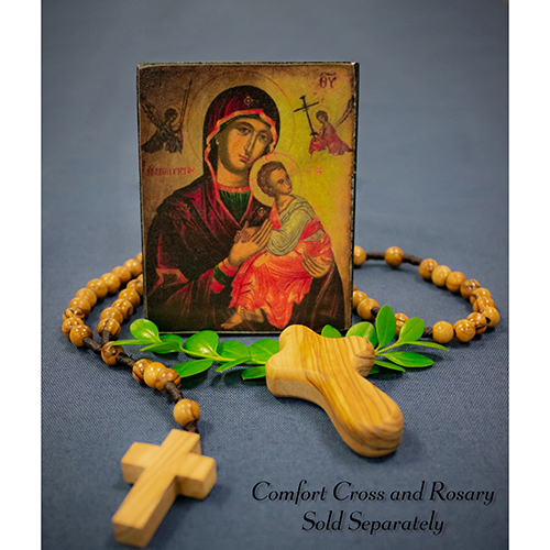 Holy Land Icon, Mary Mother of God, Hand Carved Serpentine Stone