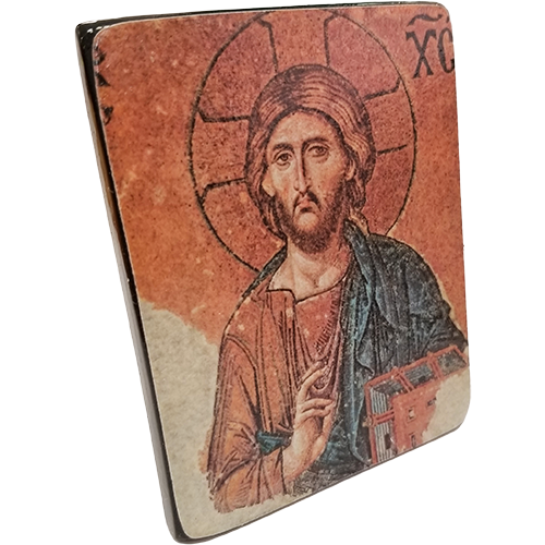 Holy Land Icon, Christ Pantocrator, Hand Carved Serpentine Stone - Logos Trading Post, Christian Gift