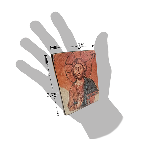 Holy Land Icon, Christ Pantocrator, Hand Carved Serpentine Stone