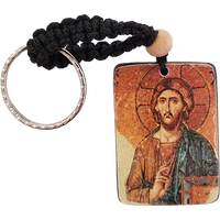 Holy Land Icon Keychain, Christ Pantocrator, Hand Carved Serpentine Stone