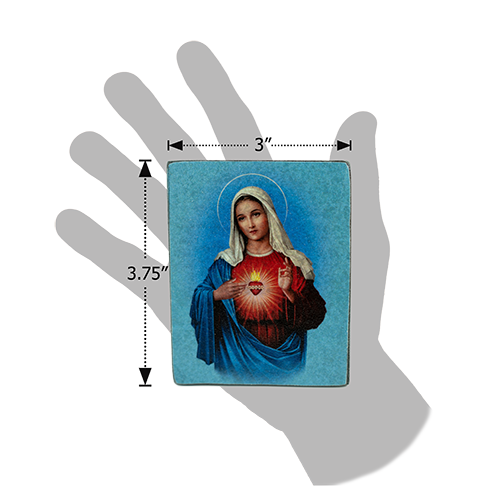 Holy Land Icon, Mother Mary Immaculate Heart, Hand Carved Serpentine Stone