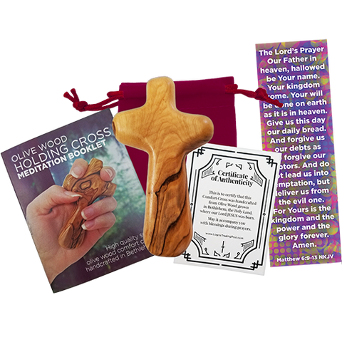 "Certified Holy Land Olive Wood Handheld Comfort Cross from Israel. Large 4.25"". Velvet Bag, Meditation Booklet, Lord's Prayer Bookmark and Certificate of Authenticity Included. Clinging Palm Cross"