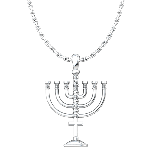 Messianic, Menorah Sterling Silver Pendant Necklace for Men and Women