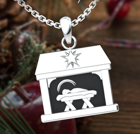 Logos Jewelry - Nativity, Sterling Silver Necklace - Logos Trading Post, Christian Gift