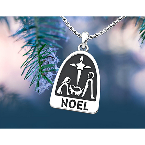 Noel Sterling Silver Necklace with an 18 inch chain in a pine tree