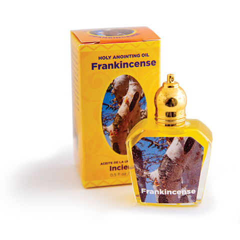 bottle of frankincense anointing oil with box
