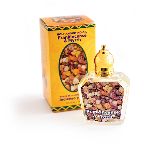 bottle of frankincense and myrrh anointing oil with box