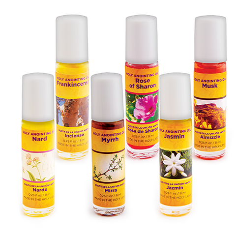 Holy Land Anointing Oils from Israel, Assorted Sample Kit 6, Bulk Set of 6 Bottles, 1/4oz Each, Made in Jerusalem from Local Herbs and Essences, Gift for Pastors & Priests, Surtido de Aceite de Unción