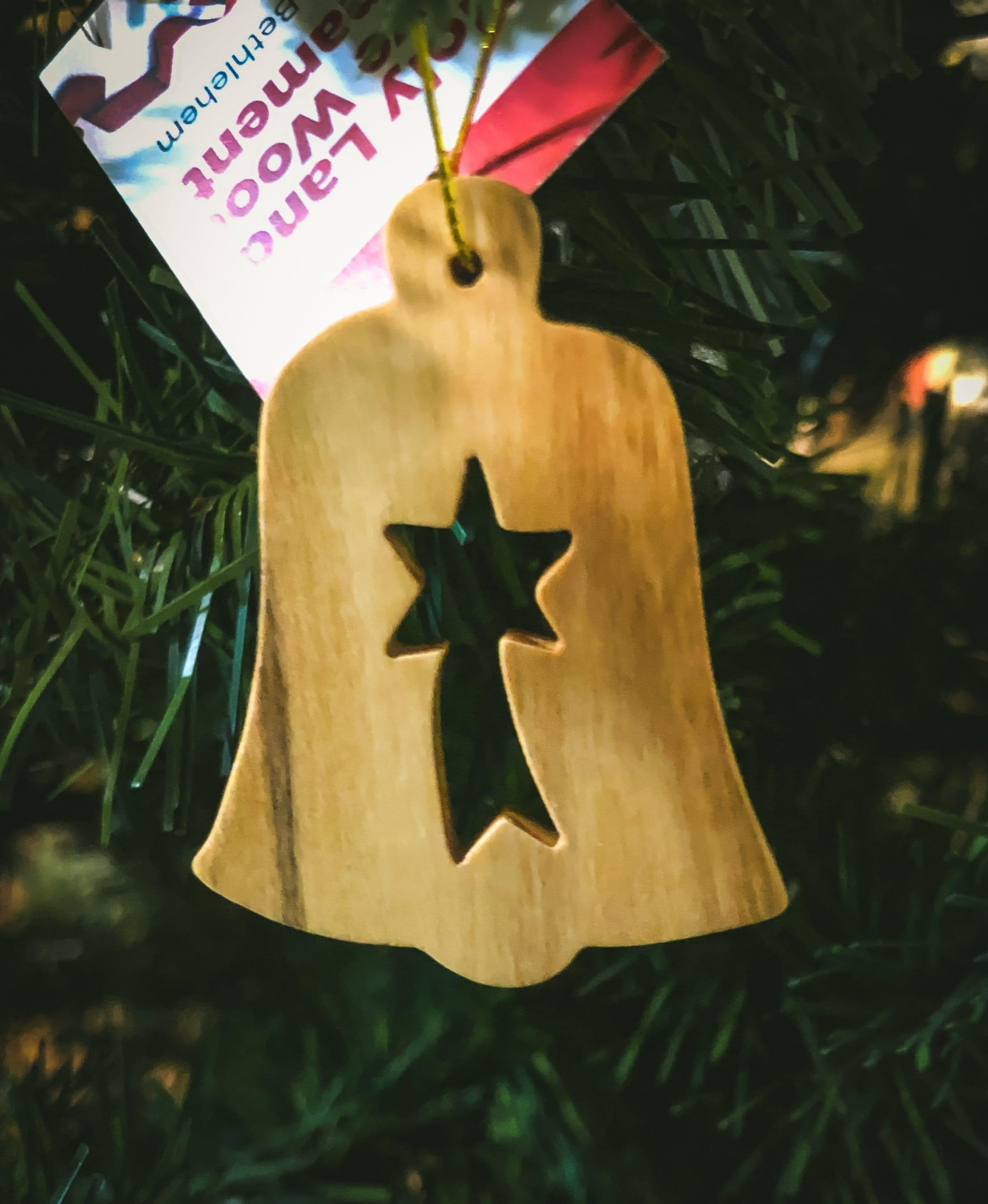 Holy Land Olive Wood Ornament - Value Pack of All 6, Bell with Star - 2D- Holy Land Olive Wood Ornament