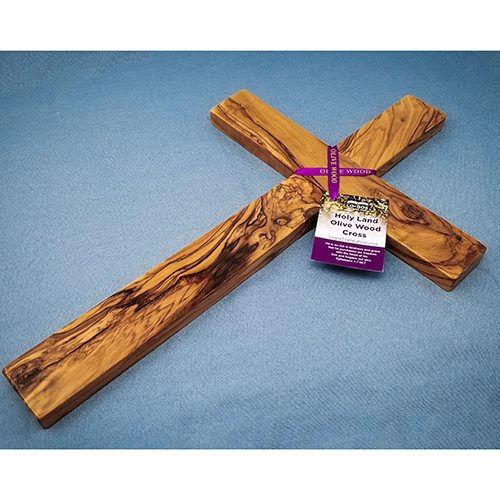 "18"" Olive Wood Wall Cross with decorative ribbon"