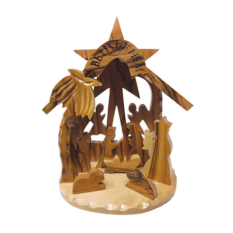 Olive Wood 3D Nativity Scene Grotto Ornament - Large
